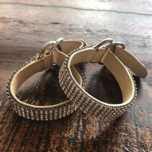 Authentic Swarovski leather handcuff  bracelet set